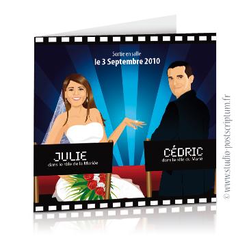 Faire-part de mariage original romantique cinéma - dessin originaux Couple de mariés affiche film fauteuil réalisateur acteur bobine bleu cinéma chic et drôle