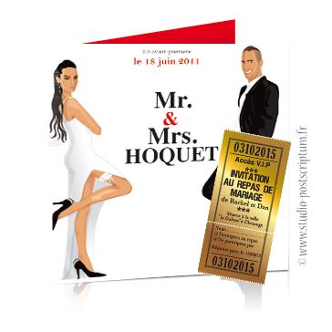 Faire-part de mariage original romantique cinéma - dessin originaux Couple de mariés affiche film Mr & Mrs smith cinéma chic et drôle avec ticket cinéma invitation