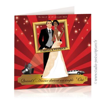 Faire-part de mariage original romantique cinéma - dessin originaux Couple de marié affiche film un mariage idéal avec limousine bordeaux cinéma chic et drôle