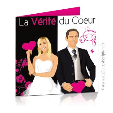 Faire-part de mariage original romantique cinéma - dessin originaux Couple de mariés affiche film vérité du coeur cinéma chic et drôle