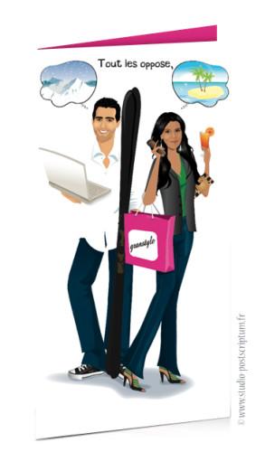 Faire-part de mariage original et drôle – dessin d'après photos. Couple que tout oppose – shopping et sport Fun et décalé
