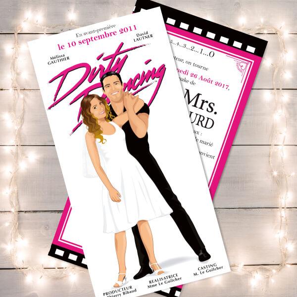 Faire-part de mariage affiche film Dirty Dancing original romantique cinéma - dessin originaux Couple de mariés cinéma chic et drôle © www.studio-postscriptum.fr
