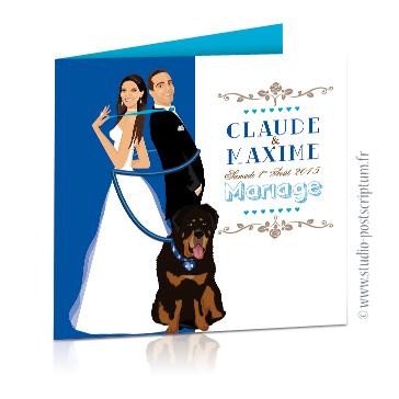 Faire-part de mariage original et drôle – dessin d'après photos. Couple de mariés enroulé par la laisse de leur gros chien Fun et décalé