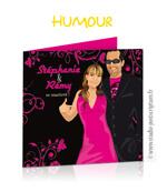 Faire-part de mariage original humour drôle fun dessin Mr & Mrs smith en dessin d'après vos photos : faire-part originaux décalé