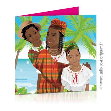 Faire-part de mariage original avec enfant – dessin d'après photos. Enfants créoles – thème îles Annonce du mariage faite par un enfant