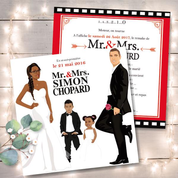 Faire-part de mariage original avec enfant – dessin d'après photos. Couple de mariés Mr & Mrs avec enfant garçon – thème cinéma Annonce du mariage faite par un enfant