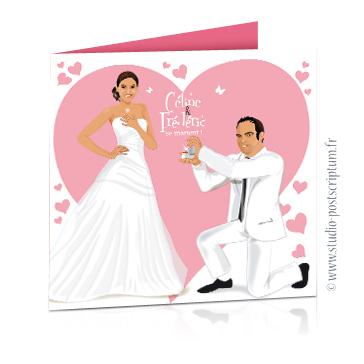 faire part de mariage original romantique vintage chic - dessin couple avec pose demande de mariage sur fond de coeurs rose poudré chic - fiançailles - élégant drôle