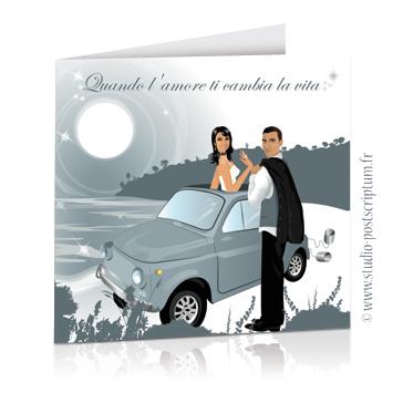 Réf. : FPIT 02 Faire-part de mariage original voyage romantique Couple de mariés dans une fiat 500 en italie gris – rétro – chic – drôle