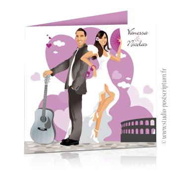 Faire-part de mariage original voyage romantique Couple de mariés Italie Espagne avec guitare et éventail Danseuse flamenco gris -violet – drôle
