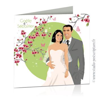 faire part de mariage original romantique vintage chic - dessin originaux nature champêtre bucolique vert anis tendre et rose poudré clair avec branche et fleurs de pommier et cerisier du japon