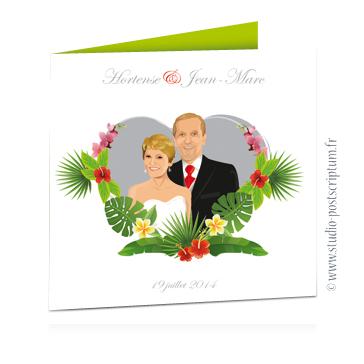 faire part de mariage original romantique vintage chic - dessin originaux nature champêtre bucolique Couple sur fond blanc dans un coeur avec des fleurs exotiques des îles remariage