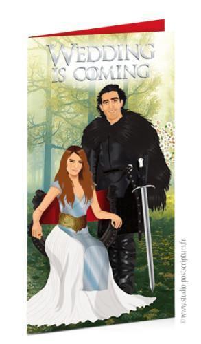 Faire-part de mariage original et drôle – dessin d'après photos. Game of Thrones – Jon Snow – Wedding is coming Fun et décalé invitation