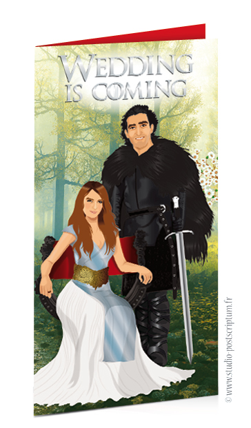Faire-part de mariage original et drôle – dessin d'après photos. Game of Thrones – Jon Snow – Wedding is coming Fun et décalé invitation
