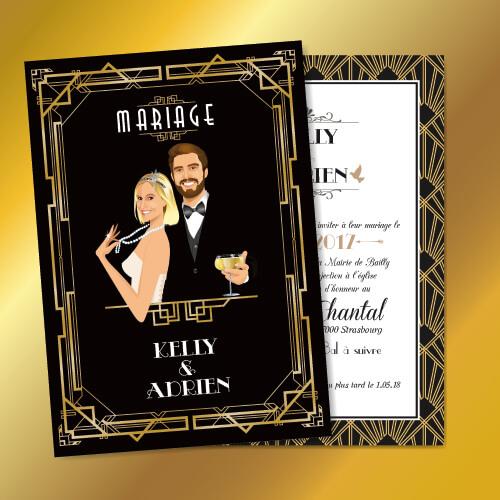 Faire-part Gatsby mariage original romantique et rétro chic – dessin d'après photos. save the date vintage Gatsby le Magnifique noir et or- chic des années folles – tenue Charleston années 20