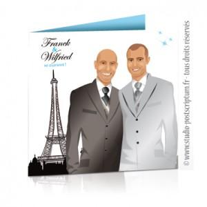 Faire-part de mariage gay et lesbien original - thème Paris chic et classe