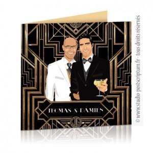 Faire-part de mariage gay et lesbien original - thème cinéma Gatsby le magnifique