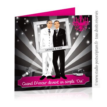 faire part de mariage gay et lesbien original thme cinma soire - Faire Part Mariage Gay Humoristique