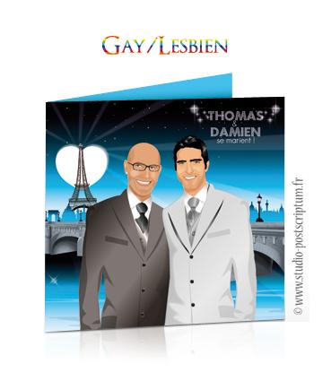 Faire-part de mariage original romantique gay et lesbien - dessin. Couple sur fond de Paris lumière avec pont et tour Eiffel Sobre et chic originaux