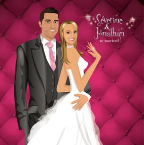 Faire-part de mariage dessin original d'après photos. Thème chic glamour lounge matelassé - fushia © Studio Postscriptum