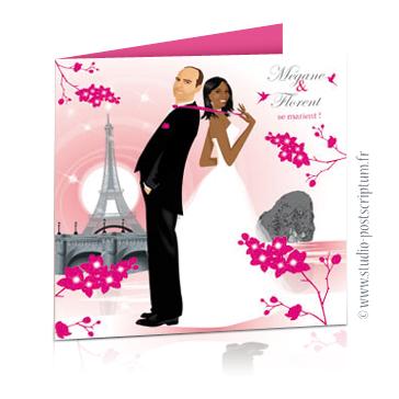Faire-part de mariage original voyage – dessin d'après photos. Couple de mariés sur la plage d'une île paradisiaque de la Réunion avec des cocotiers et des orchydées et Paris
