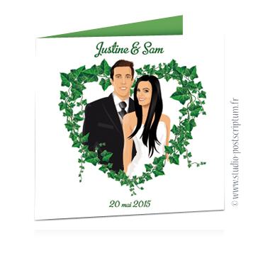 faire part de mariage original romantique vintage chic - dessin originaux thème nature champêtre bucolique coeur en lierre ou vigne Dessin des mariés d'après photos © www.studio-postscriptum.fr