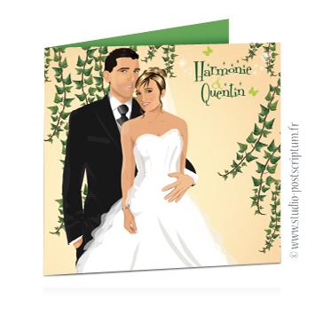 faire part de mariage original romantique vintage chic - dessin originaux thème nature champêtre bucolique beige crème avec du lierre ou feuilles de vigne