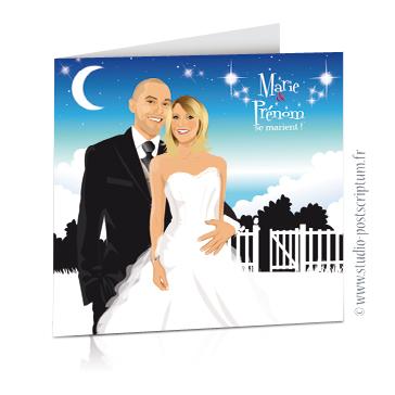 faire part de mariage original romantique vintage chic - dessin originaux couple de mariés sur fond de nuit étoilé dans un jardin bucolique chic bucolique clair de lune - style vintage