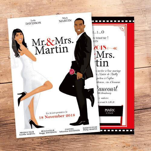 mariage cinéma faire-part original affiche film Mr & Mrs Smith cinéma chic et drôle –A5