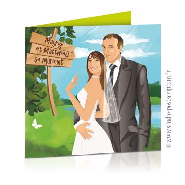 faire part de mariage original romantique vintage chic - dessin originaux nature champêtre bucolique Couple de mariés à la campagne, dans les champs avec panneau en bois drôle