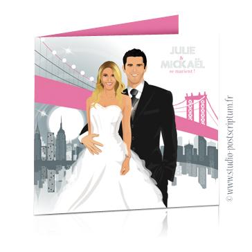 Faire-part de mariage original romantique – dessin d'après photos Couple de mariés à New-York pont de Brooklyn – gris et rose poudré Rétro – vintage – chic – drôle