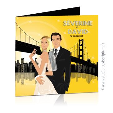 Faire-part de mariage original romantique – dessin d'après photos Couple de mariés à New-York – couleurs taxi jaune et noir Rétro – vintage – chic – drôle yellow cab