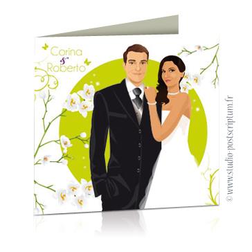 faire part de mariage original romantique vintage chic - dessin originaux nature champêtre bucolique fleurs d'orchidée blanches vert anis