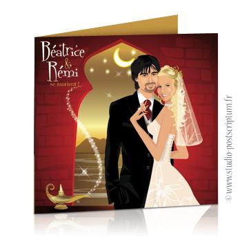 Faire-part de mariage original voyage oriental Couple de mariés sur fond oriental or et bordeaux 1001 nuits, Aladin et lampe de génie