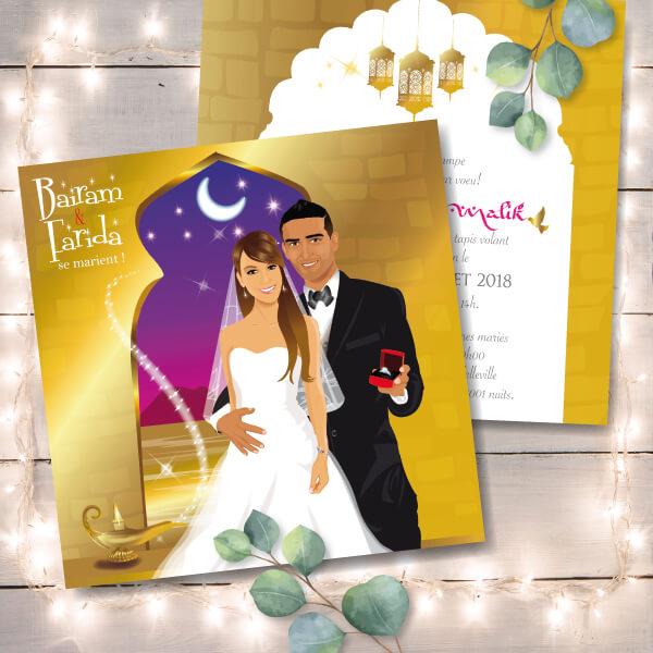 Faire-part de mariage oriental 1001 nuits Aladin dessin d'après vos photos : faire-part originaux