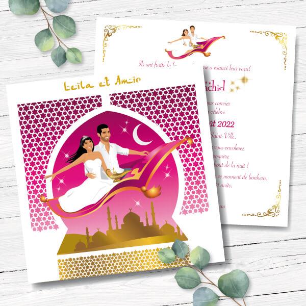 Mariage oriental 1001 nuits - faire-part original, invitation ou save the date sur tapis volant comme Aladdin et Shéhérazade. Portraits dessin caricature - blanc or et violet Bollywood - chic vintage et romantique