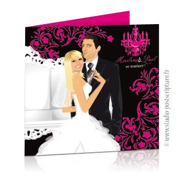 faire part de mariage dessin original romantique baroque chic Couple de marié sur un fond noir baroque avec fauteuil, volutes et lustre rose fuschia Dessin des mariés