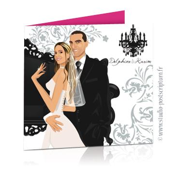 faire part invitation de mariage dessin des mariés original romantique baroque chic avec couple sur fond noir baroque volutes et lustre rose fuschia gris, sobre et élégant