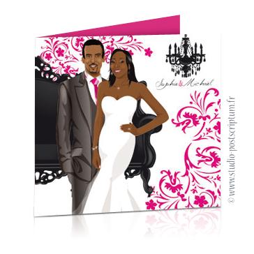 faire part de mariage dessin des mariés original romantique baroque chic avec couple sur fond noir baroque volutes et lustre rose fuschia chic, sobre et élégant