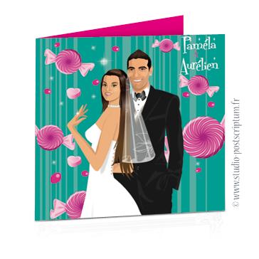 Faire part de mariage original romantique gourmand vintage chic en dessin. Couple de mariés sur fond blanc vintage avec bonbons originaux et sucettes rose fond turquoise candybar