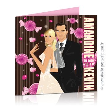 Faire part de mariage original romantique gourmand vintage chic en dessin. Couple de mariés sur fond blanc vintage avec bonbons originaux et sucettes rose fond chocolat candybar