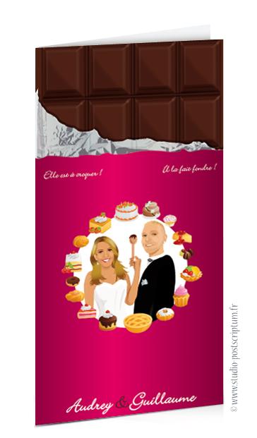 Faire-part de mariage original romantique gourmand vintage chic - dessin de mariés sur tablette chocolat rose fuschia avec pâtisseries et gâteaux - gourmandise - candybar drôle