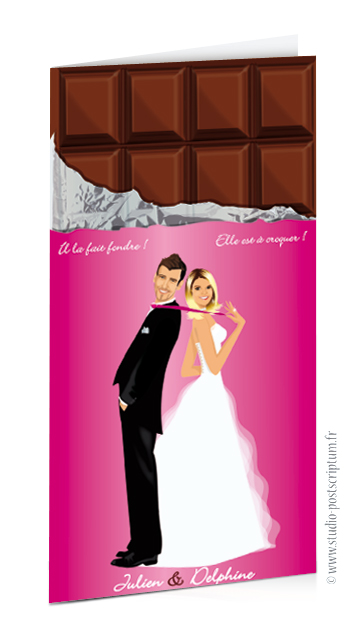 Faire-part de mariage ou save the date original tablette de chocolat gourmandise chocolat bonbon candybar et cupcake romantique vintage rose fuschia. Portraits dessin caricature - chic vintage et romantique