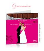 Faire-part de mariage original gourmandise chocolat candybar dessin d'après vos photos : faire-part originaux bonbon