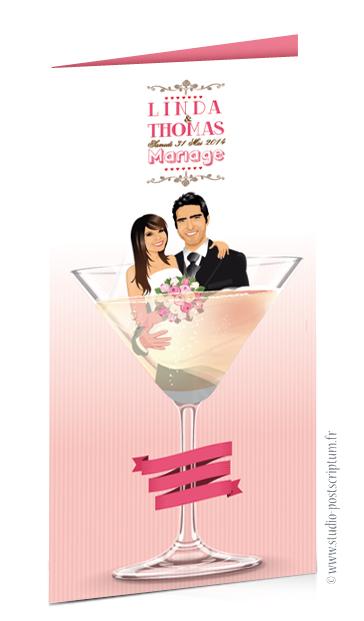 faire part de mariage original romantique vintage chic dessin originaux Couple dans un verre de cocktail couleur pêche rose poudré