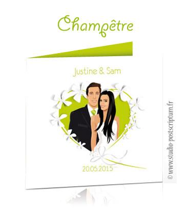 faire-part de mariage original romantique vintage - thème nature champêtre bucolique coeur fleur papillon originaux