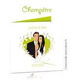 Faire-part de mariage original nature fleurs champêtre dessin d'après vos photos : faire-part originaux vert anis