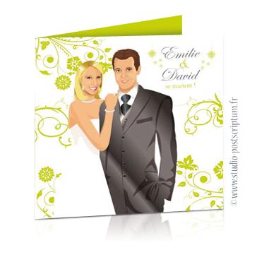 faire part de mariage original romantique vintage chic - dessin originaux nature champêtre bucolique Couple de mariés sur fond blanc avec fleurs, volutes et papillons vert anis
