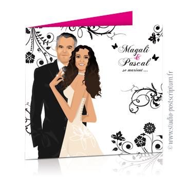 faire part de mariage dessin des mariés original romantique baroque chic avec couple sur fond blanc baroque volutes et lustre rose noir rose fuschia chic, sobre et élégant
