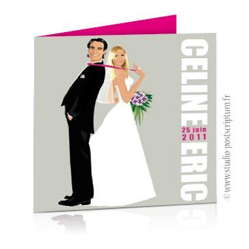 Faire-part de mariage original romantique cinéma - dessin originaux Couple de mariés affiche film Pretty woman cinéma chic et drôle - fond gris