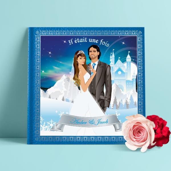 Il était une fois un Faire part de mariage original romantique de livre Conte de fée, princesse reine des neiges glace